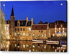 Acrylic Print featuring the photograph Houses By A Canal - Bruges, Belgium by Barry O Carroll