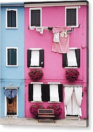 Houses Of Burano 7 Acrylic Print by Happy Home Artistry