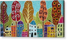 Houses Trees Birds Painting By Karla G Acrylic Print by Karla Gerard