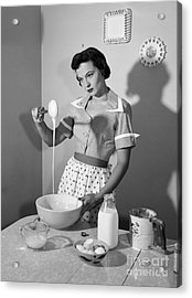 Housewife Cooking With Annoyed Look Acrylic Print