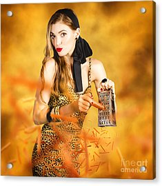 Housewife Grating Carrots Acrylic Print by Jorgo Photography - Wall Art Gallery