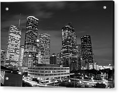 Houston By Night In Black And White Acrylic Print