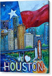 Acrylic Print featuring the painting Houston Montage by Patti Schermerhorn
