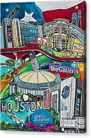 Acrylic Print featuring the painting Houston Montage Two by Patti Schermerhorn