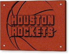 Houston Rockets Leather Art Acrylic Print by Joe Hamilton