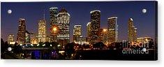 Houston Skyline At Night Acrylic Print by Jon Holiday