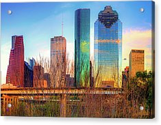Acrylic Print featuring the photograph Houston Texas Skyline At Sunset by Gregory Ballos