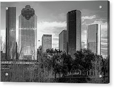 Houston Texas Skyline Monochrome Acrylic Print by Gregory Ballos