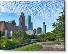 Houstons Skyline Sesquicentennial Park Acrylic Print by Tod and Cynthia Grubbs