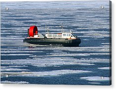 Hovercraft On Frozen Artic Ocean Acrylic Print by Anthony Jones