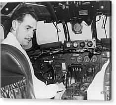 Howard Hughes Seated In The Cockpit Twa Acrylic Print by Everett