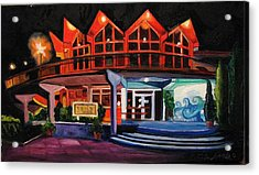 Acrylic Print featuring the painting Howard Johnsons At Night by Patricia Arroyo
