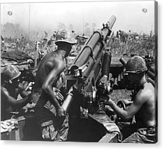 Howitzer Crew In Action Acrylic Print by Underwood Archives