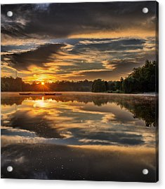 Hoyt Lake Sunrise - Square Acrylic Print