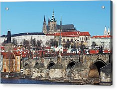 Hradcany - Cathedral Of St Vitus And Charles Bridge Acrylic Print by Michal Boubin