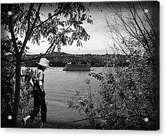 Huck Finn Type Walking On River  Acrylic Print