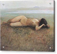 Hude On Grassland Acrylic Print by Ji-qun Chen