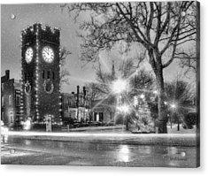 Hudson Holidays In Black And White Acrylic Print by Kenneth Krolikowski