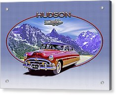 Hudson Hornet Travels The Tetons Acrylic Print by Ed Dooley