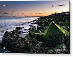 Hudson River And Verrazano-narrows Bridge Acrylic Print