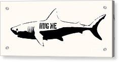 Hug Me Shark - Black  Acrylic Print by Pixel  Chimp