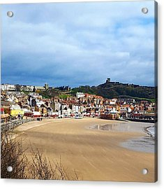 Huge Beach, Cute Town And A Castle Acrylic Print by Dante Harker