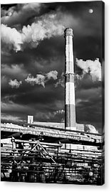 Huge Industrial Chimney And Smoke In Black And White Acrylic Print by John Williams