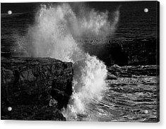 Huge Wave Breaking On The Rocks Acrylic Print