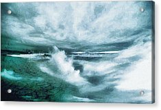 Huge Waves And Stormy Sea Art Painting Acrylic Print