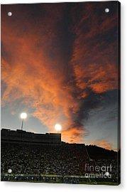 Hughes Stadium Sunset Acrylic Print by Sara  Mayer