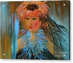 Hula In Turquoise Acrylic Print by Jenny Lee