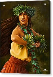 Hula Dancer Acrylic Print by Anne Wertheim
