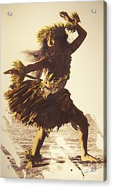 Hula In A Ti Leaf Skirt Acrylic Print by Himani - Printscapes