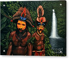 Huli Men In The Jungle Of Papua New Guinea Acrylic Print by Paul Meijering