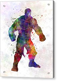 Hulk 01 In Watercolor Acrylic Print by Pablo Romero