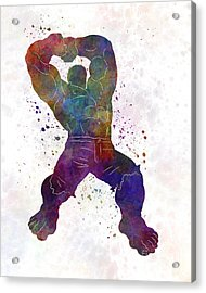 Hulk 02 In Watercolor Acrylic Print by Pablo Romero