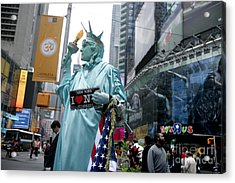 Human Statue Of Liberty In Times Square Acrylic Print by Bruce Crummy