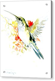 Hummingbird And Flowers Acrylic Print by Suren Nersisyan