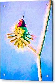 Acrylic Print featuring the mixed media Hummingbird Art - Energy Glow by Priya Ghose