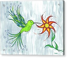 Hummingbird Floral Acrylic Print