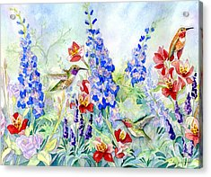 Hummingbird Garden In Spring Acrylic Print by Audrey Jeanne Roberts