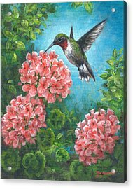 Acrylic Print featuring the painting Hummingbird Heaven by Kim Lockman