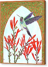Hummingbird In Opening Acrylic Print by Lise Winne
