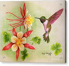 Acrylic Print featuring the painting Hummingbird's Delight by Judy Filarecki