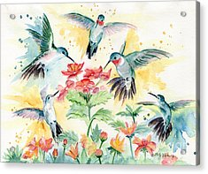 Hummingbirds Party Acrylic Print by Melly Terpening