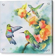 Hummingbirds With Orange Flowers Acrylic Print