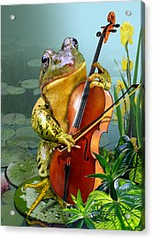 Humorous Scene Frog Playing Cello In Lily Pond Acrylic Print by Regina Femrite