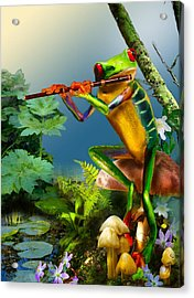 Humorous Tree Frog Playing The Flute  Acrylic Print