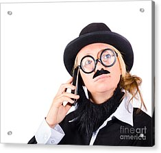 Humorous Worker With Mobile Phone Acrylic Print