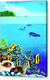 Humpback Whales, Reef Fish #252 Acrylic Print by Donald k Hall